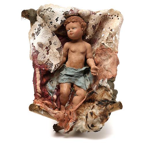 Gesù Bambino in culla presepe Tripi da 30 cm 1