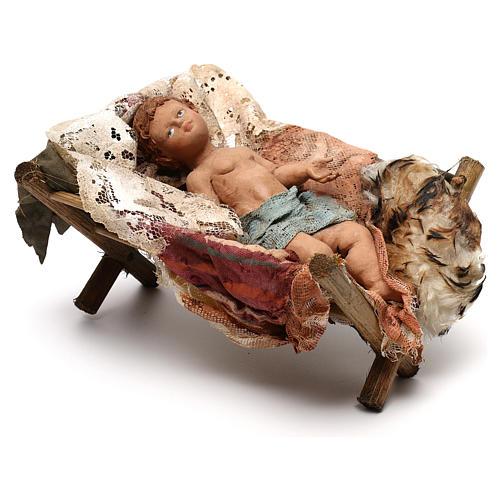 Gesù Bambino in culla presepe Tripi da 30 cm 2