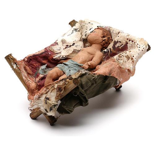 Gesù Bambino in culla presepe Tripi da 30 cm 3