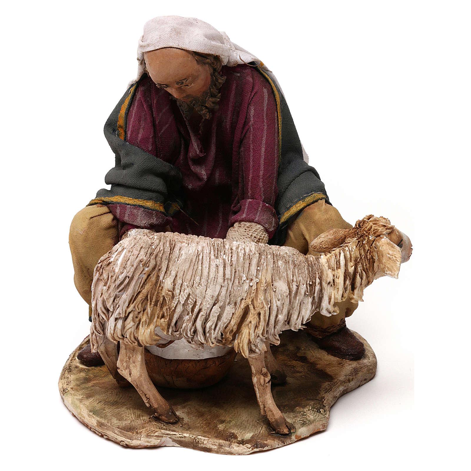 Pastore che munge terracotta 13 cm Angela Tripi 4