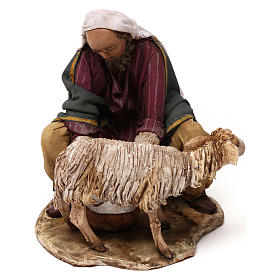 Pastore che munge terracotta 13 cm Angela Tripi s1