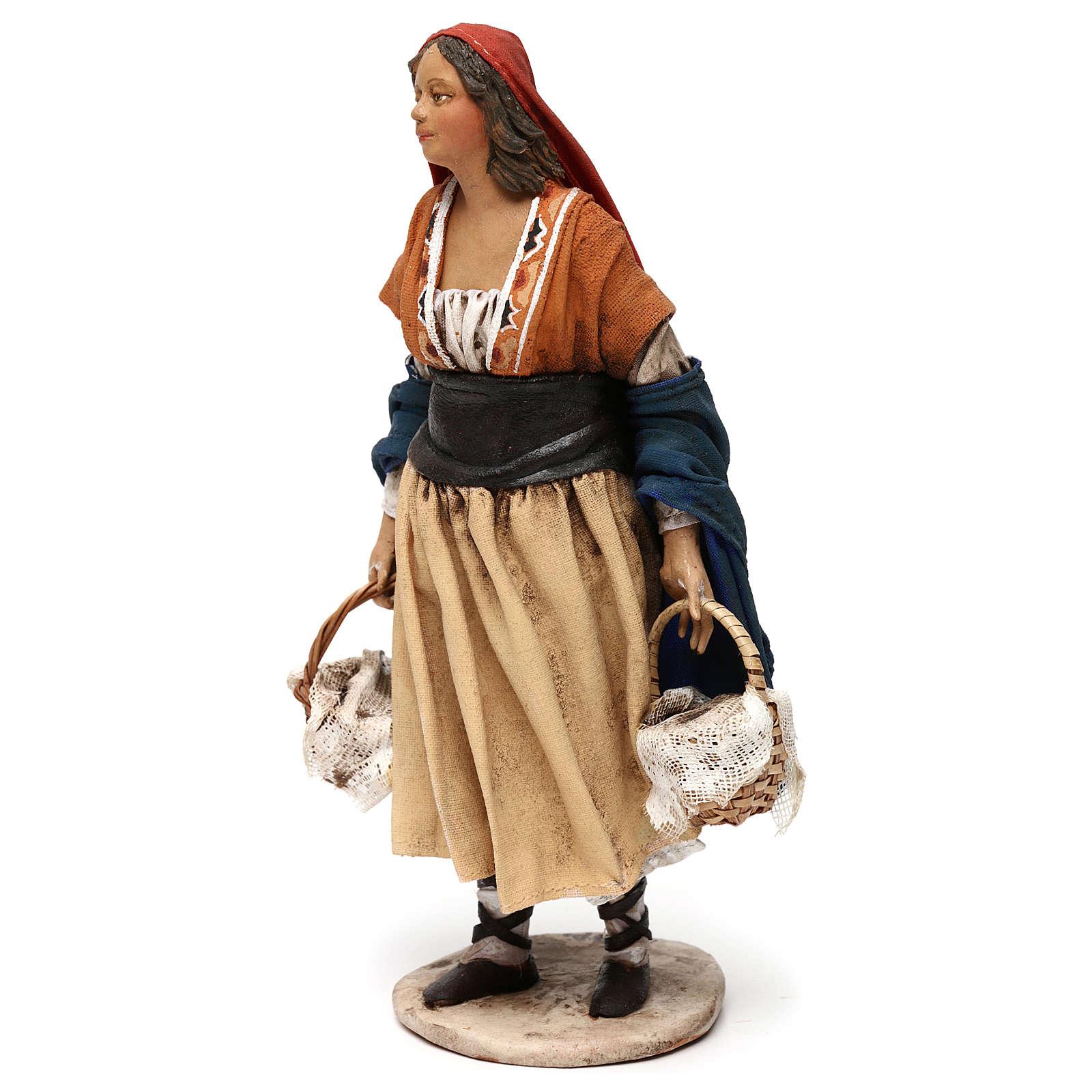 Pastora con cestas 18 cm Belén Angela Tripi 4
