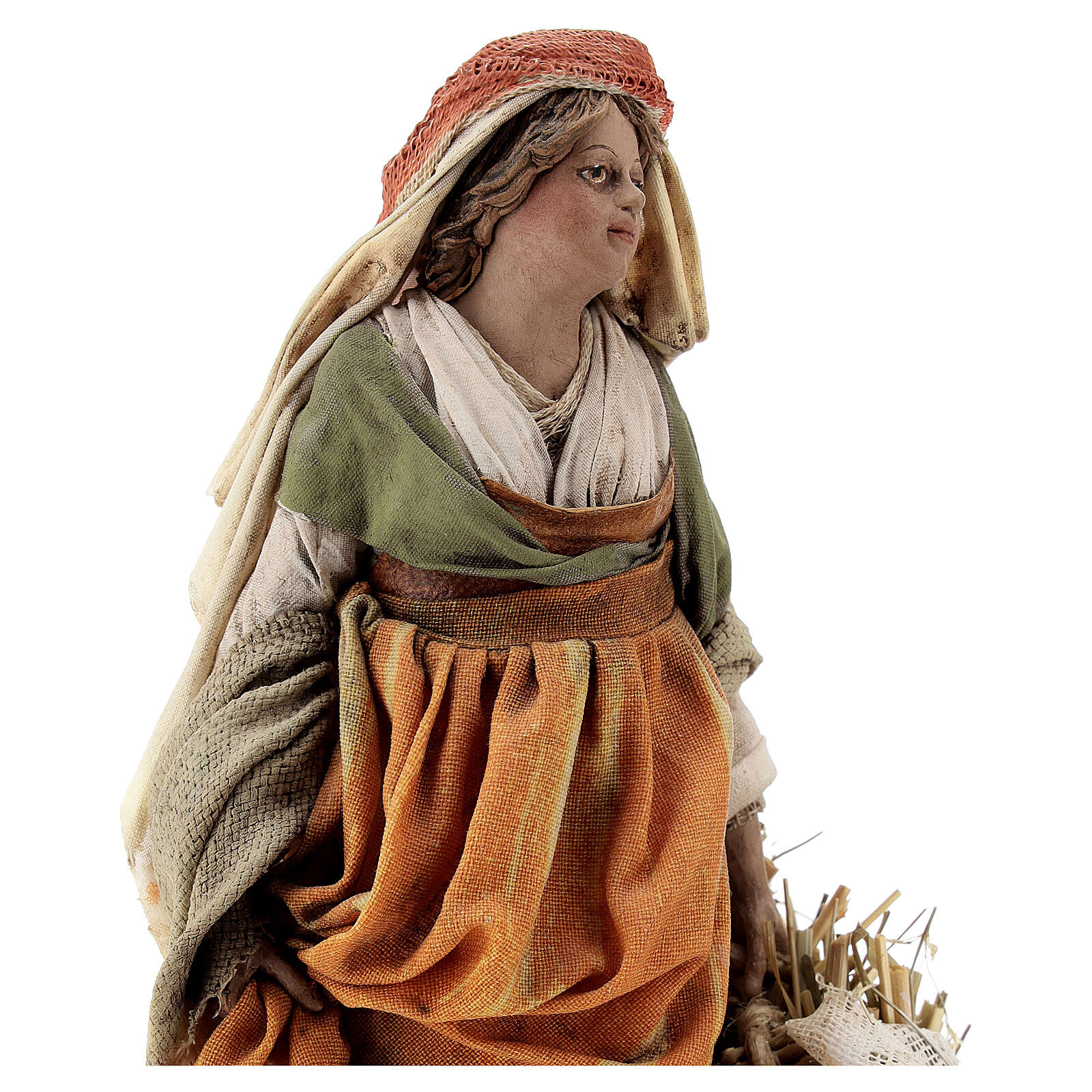 Pastorella con ceste 18 cm Presepe Angela Tripi 4