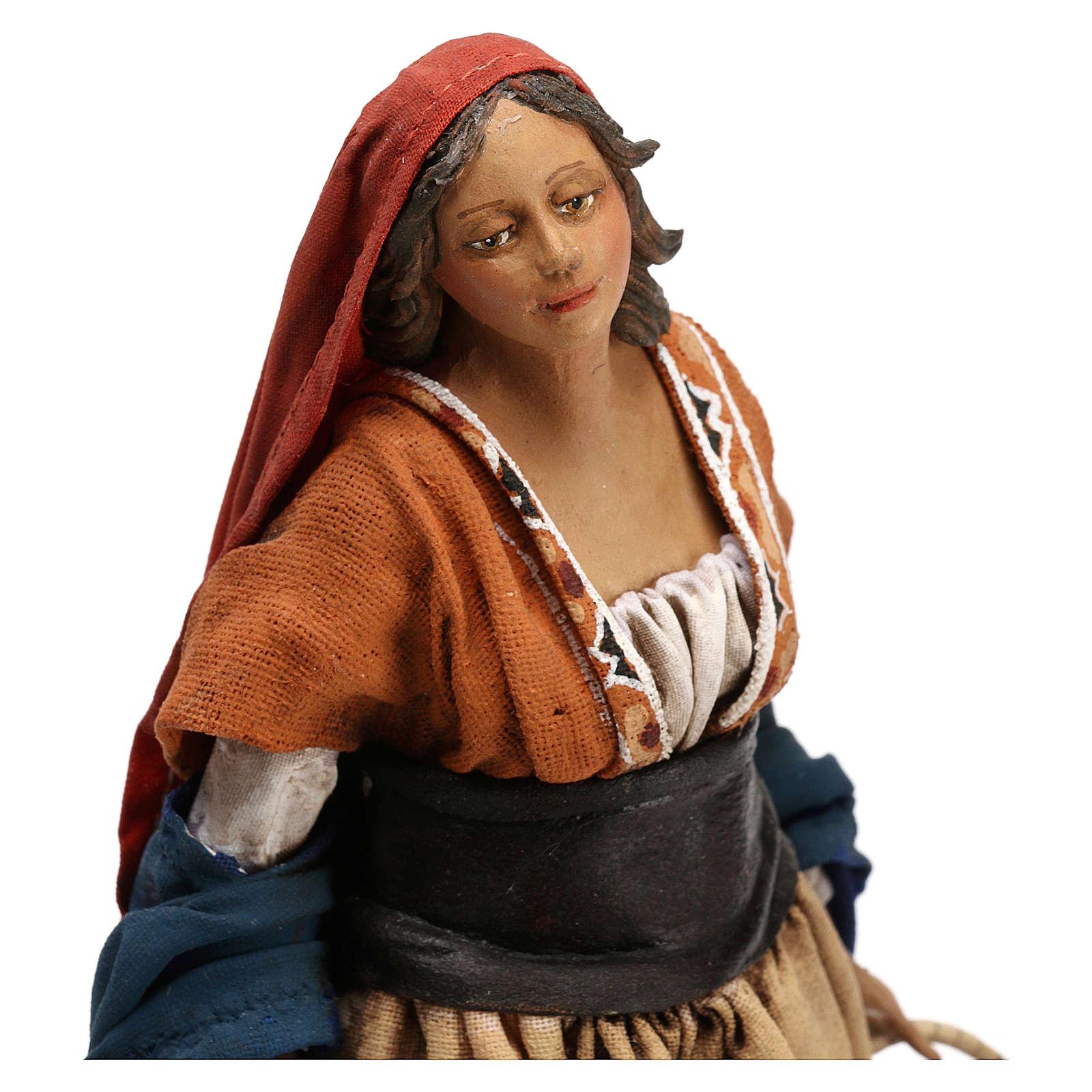 Shepherdess with baskets, 18 cm Nativity Angela Tripi 4