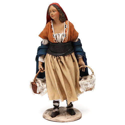Shepherdess with baskets, 18 cm Nativity Angela Tripi 1