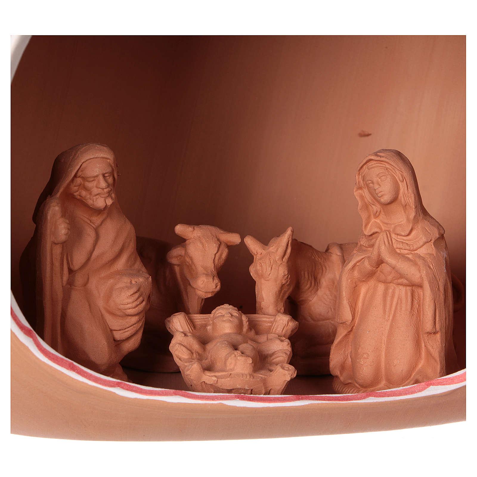 Presepe 9 cm dentro anfora 20x30x20 cm in ceramica Deruta decorata 4