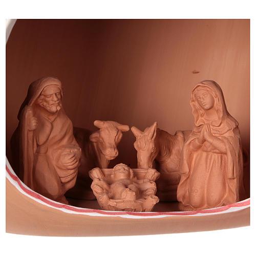 Presepe 9 cm dentro anfora 20x30x20 cm in ceramica Deruta decorata 2