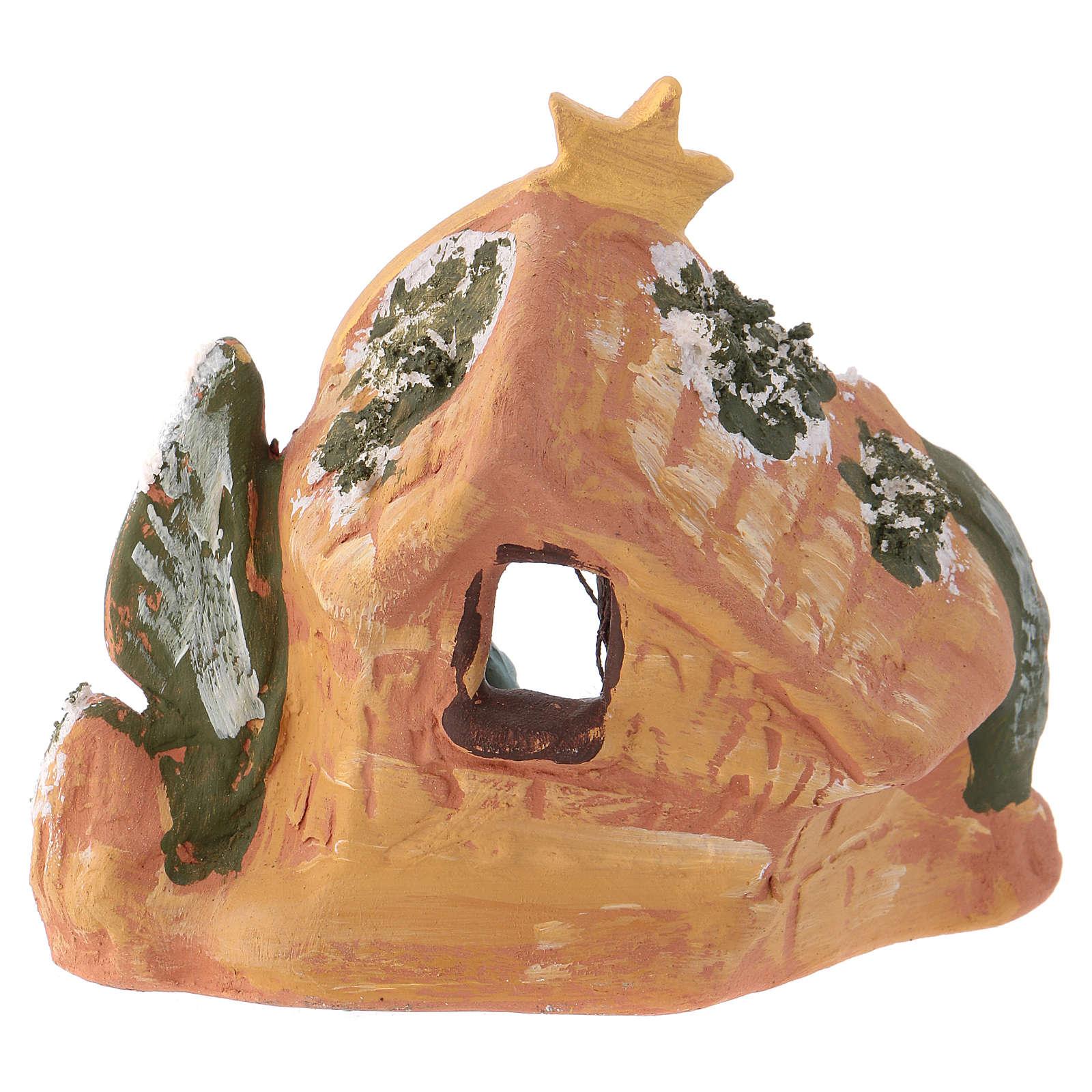 Cabaña de terracota coloreada Deruta 10x10x5 cm para belén 4 cm 4