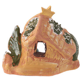 Cabane en terre cuite colorée Deruta 10x10x5 cm pour crèche 4 cm s4