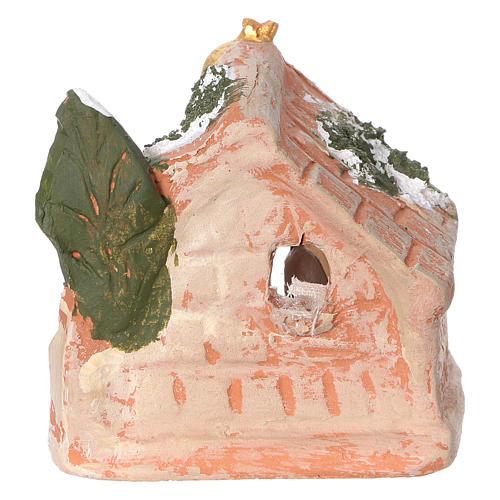 Cabaña de terracota coloreada de Deruta para belenes de 3 cm 4