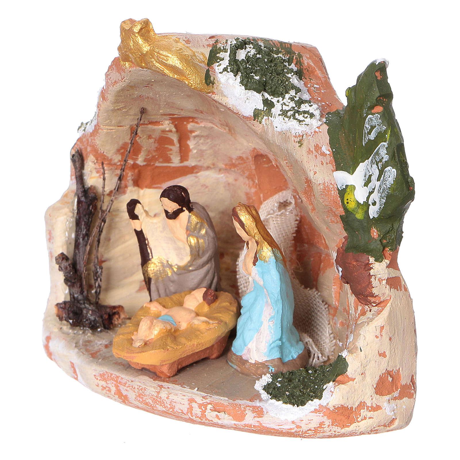 Capannina in terracotta colorata di Deruta per presepi di 3 cm 4