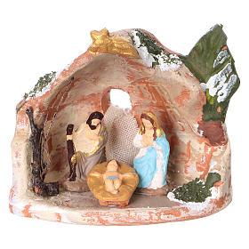 Presépio Terracota Deruta: Cabana em terracota corada de Deruta para presépio com peças de 3 cm de altura média