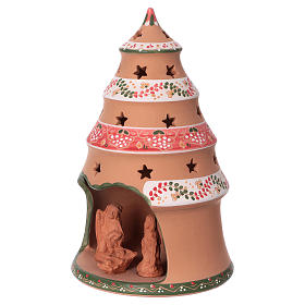 Country-style Christmas tree 25x15x15 cm with Nativity scene 7 cm in Deruta ceramic s3