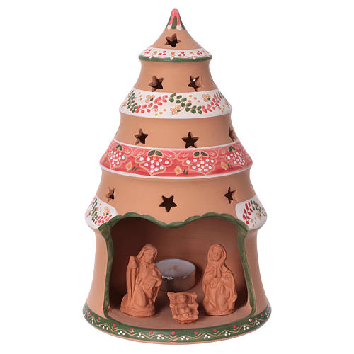 Country-style Christmas tree 25x15x15 cm with Nativity scene 7 cm in Deruta ceramic 1