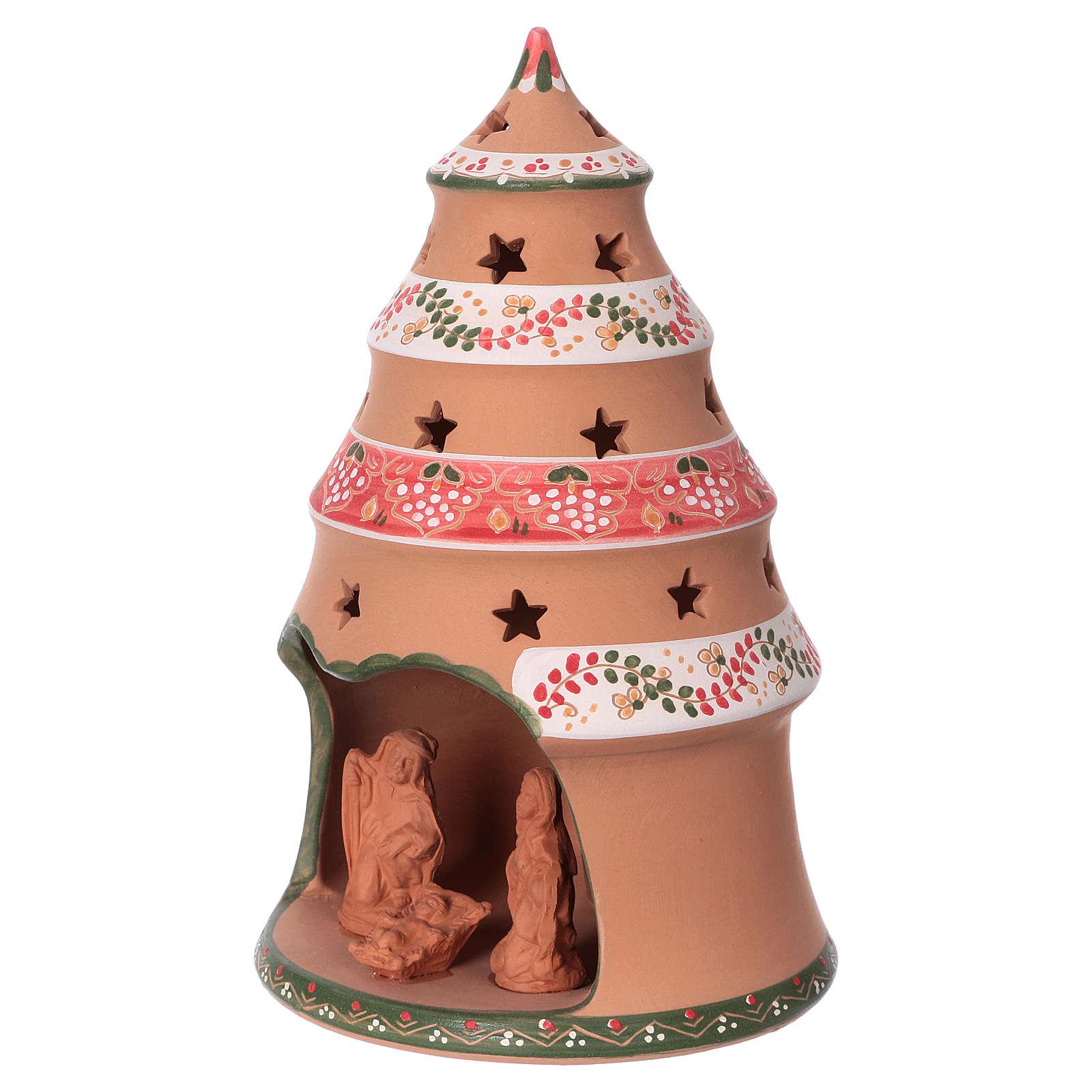 Christmas tree 25x15x15 cm with 7 cm nativity scene, country style in Deruta ceramic 4