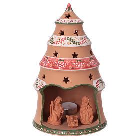 Christmas tree 25x15x15 cm with 7 cm nativity scene, country style in Deruta ceramic s1