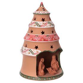 Christmas tree 25x15x15 cm with 7 cm nativity scene, country style in Deruta ceramic s2