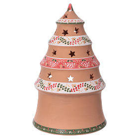 Christmas tree 25x15x15 cm with 7 cm nativity scene, country style in Deruta ceramic s4
