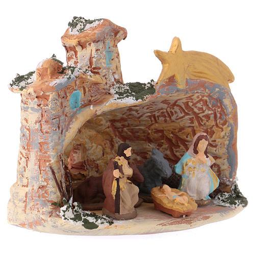 Cabane 10x10x10 cm en céramique Deruta colorée avec Nativité 4 cm 2