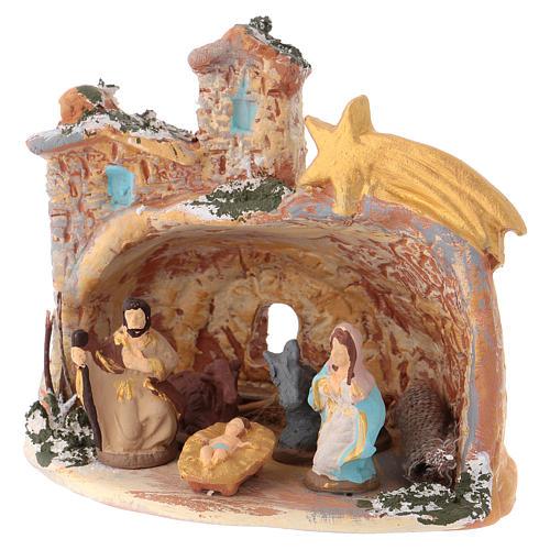 Cabane 10x10x10 cm en céramique Deruta colorée avec Nativité 4 cm 3