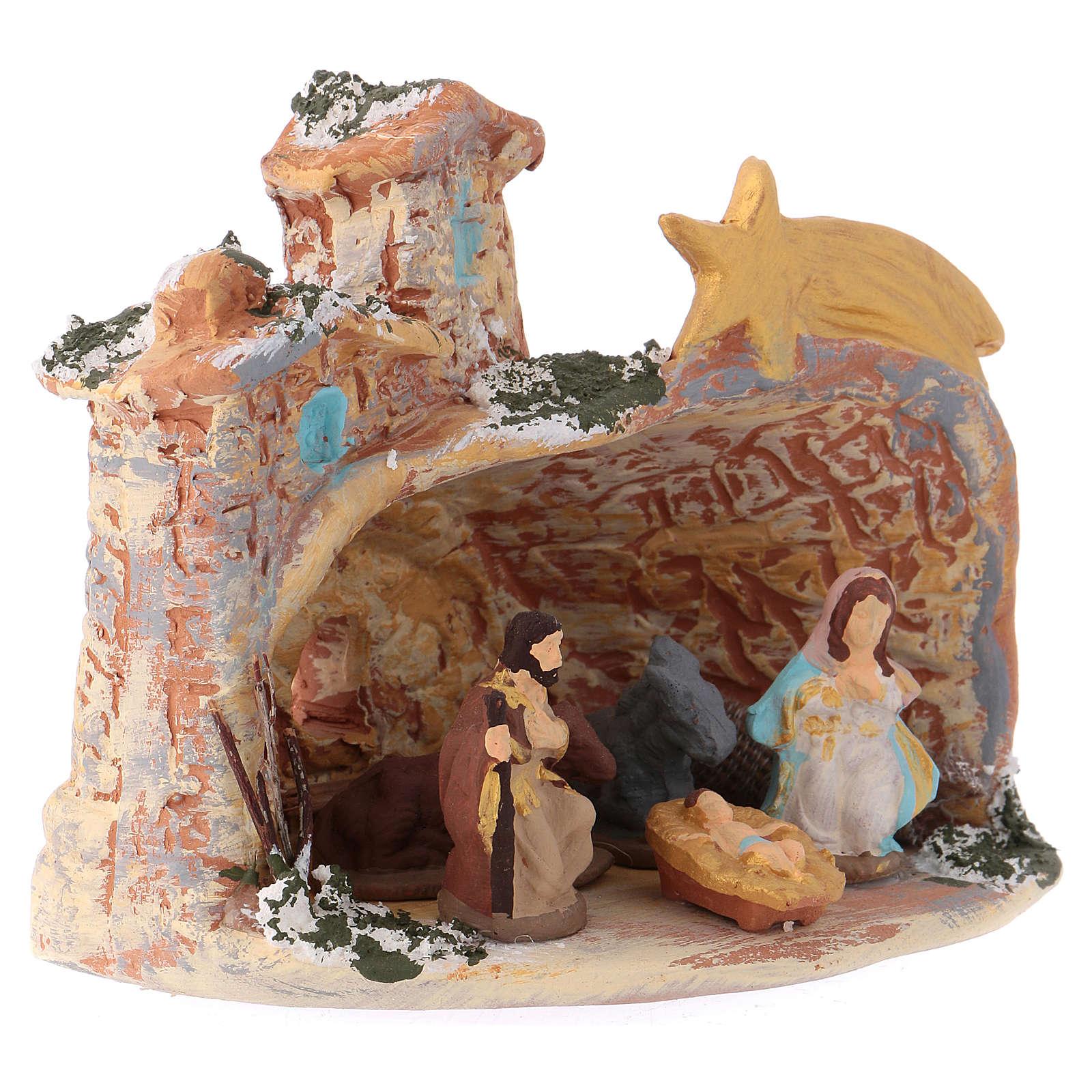 Capanna 10x10x10 cm in ceramica Deruta colorata con natività 4 cm  4