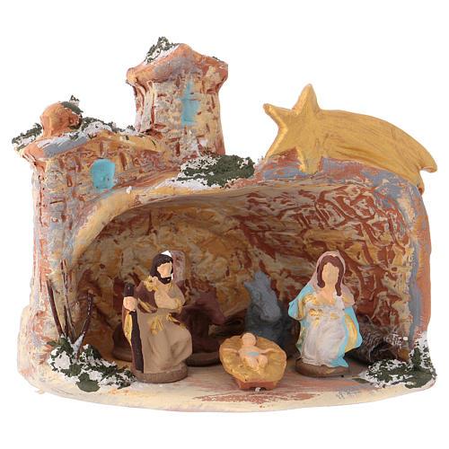 Capanna 10x10x10 cm in ceramica Deruta colorata con natività 4 cm  1