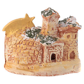 Stable 10x10x10 cm in colored Deruta ceramic with 4 cm nativity s4