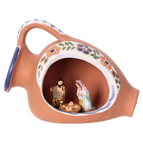 Nativity of 2 cm inside amphora 10x10x5 cm in Deruta ceramic with blue decorations s1