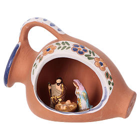 Nativity of 2 cm inside amphora 10x10x5 cm in Deruta ceramic with blue decorations s3