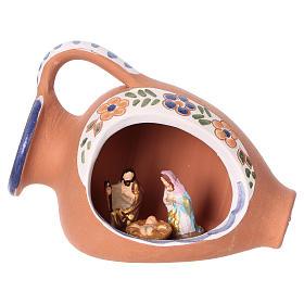 Natività 2 cm dentro anfora 10x10x5 cm in ceramica Deruta con decorazioni blu s1