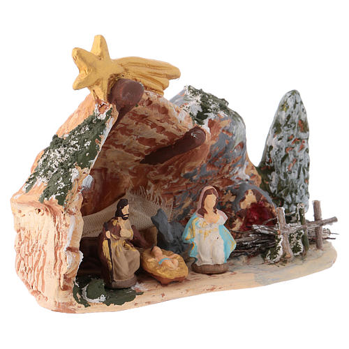 Nativity scene 10x15x5 cm in painted Deruta terracotta with Nativity scene 4 cm 2