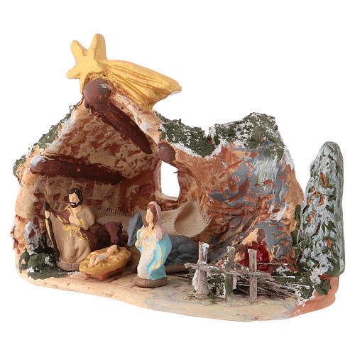 Nativity scene 10x15x5 cm in painted Deruta terracotta with Nativity scene 4 cm 3