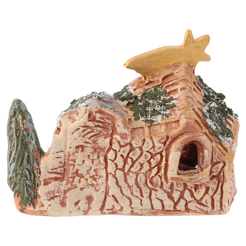 Nativity scene 10x15x5 cm in painted Deruta terracotta with Nativity scene 4 cm 4