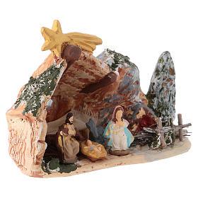 Belén 10x15x5 cm de terracota pintada Deruta con natividad 4 cm s2