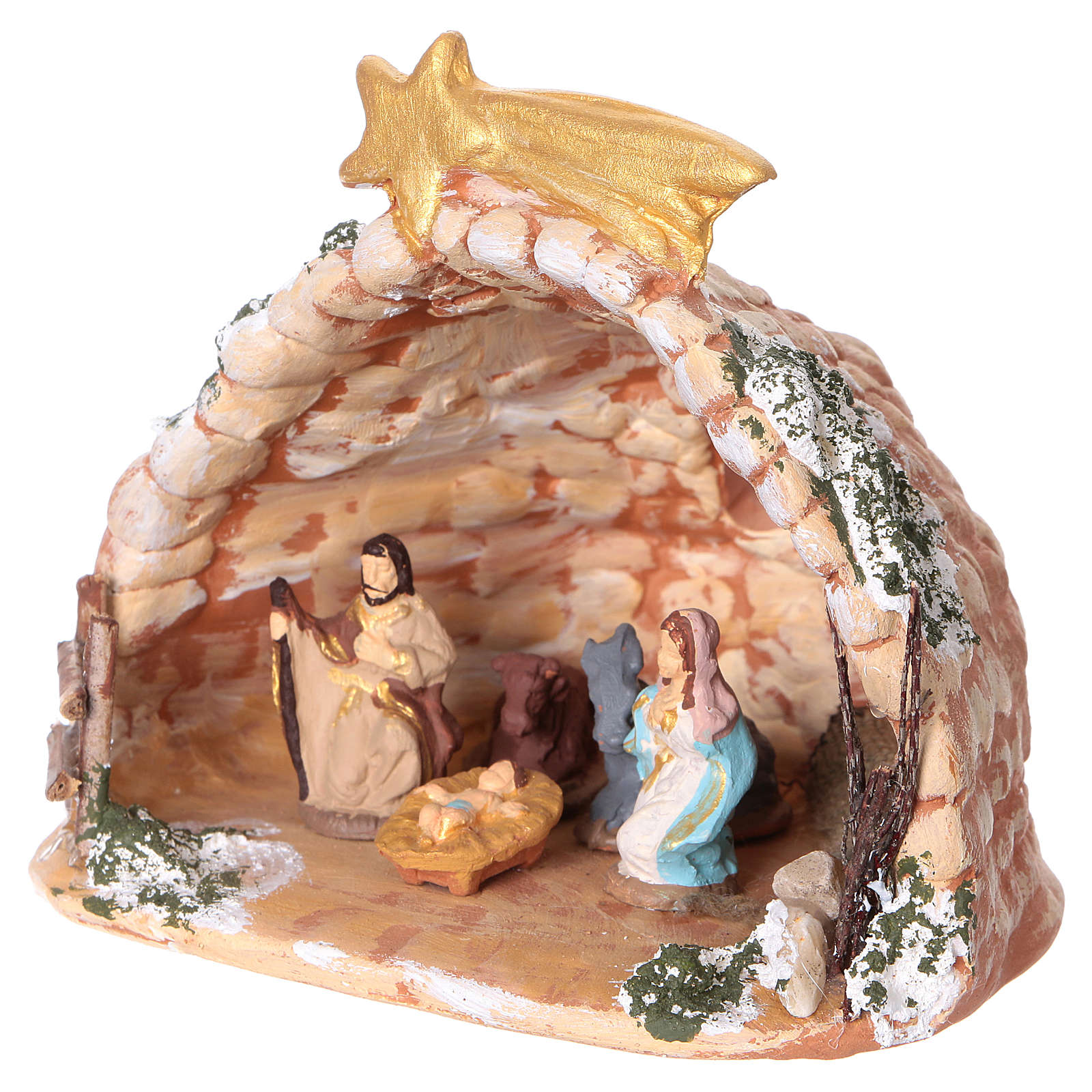 Cave in painted Deruta terracotta with Nativity scene 4 cm 10x10x10 cm 4
