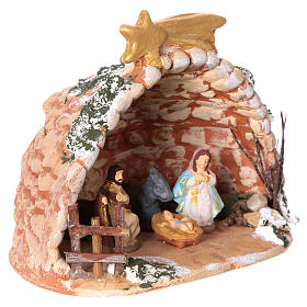 Cave in painted Deruta terracotta with Nativity scene 4 cm 10x10x10 cm s2