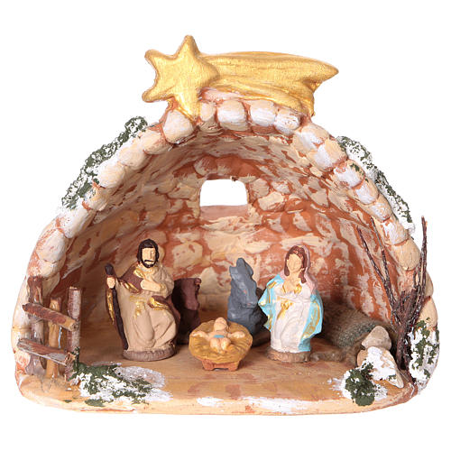 Cave in painted Deruta terracotta with Nativity scene 4 cm 10x10x10 cm 1