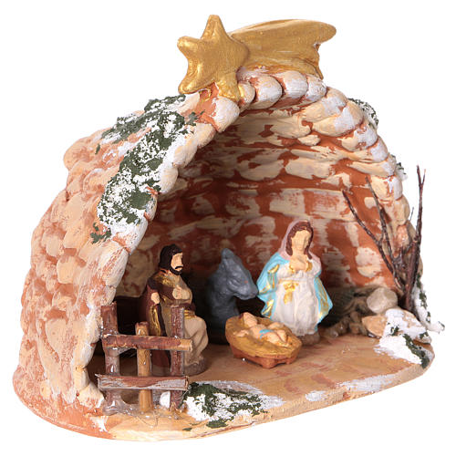 Cave in painted Deruta terracotta with Nativity scene 4 cm 10x10x10 cm 2