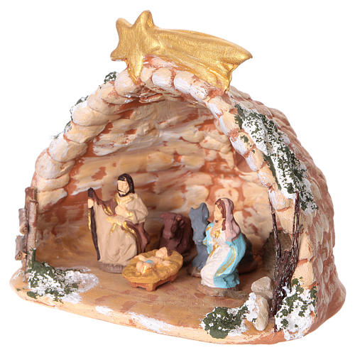Cave in painted Deruta terracotta with Nativity scene 4 cm 10x10x10 cm 3