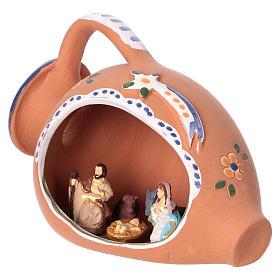 Nativity scene 4 cm inside amphora in Deruta ceramic decorated in blue 10x15x10 cm s3
