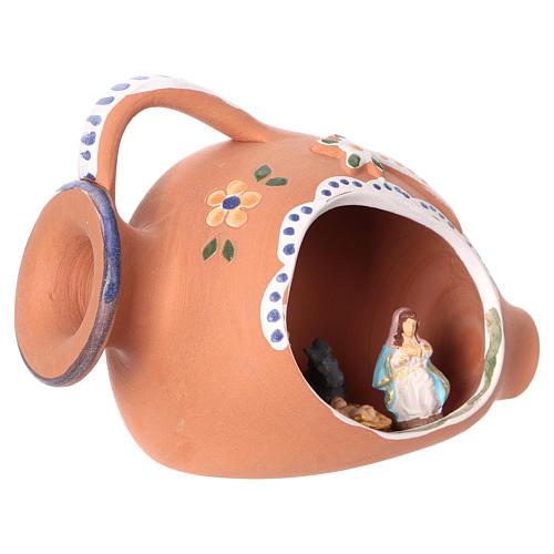 Natività per presepe 4 cm dentro anfora ceramica Deruta decorata blu 10x15x10 cm  2