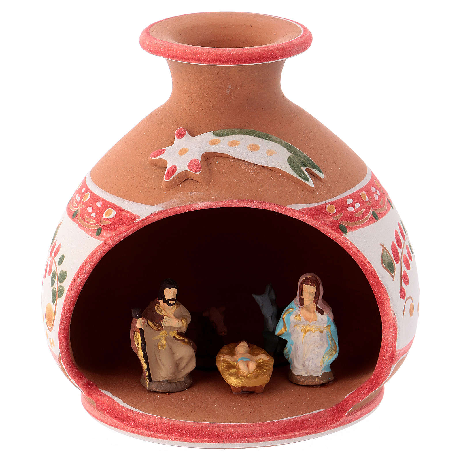 Country shed in Deruta ceramic with red decorations and Nativity scene 3 cm 10x10x10 cm 4