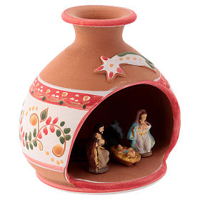 Country shed in Deruta ceramic with red decorations and Nativity scene 3 cm 10x10x10 cm s3
