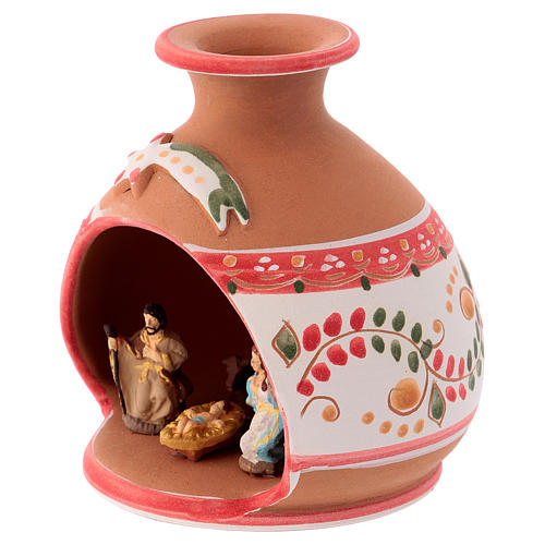 Country shed in Deruta ceramic with red decorations and Nativity scene 3 cm 10x10x10 cm 2