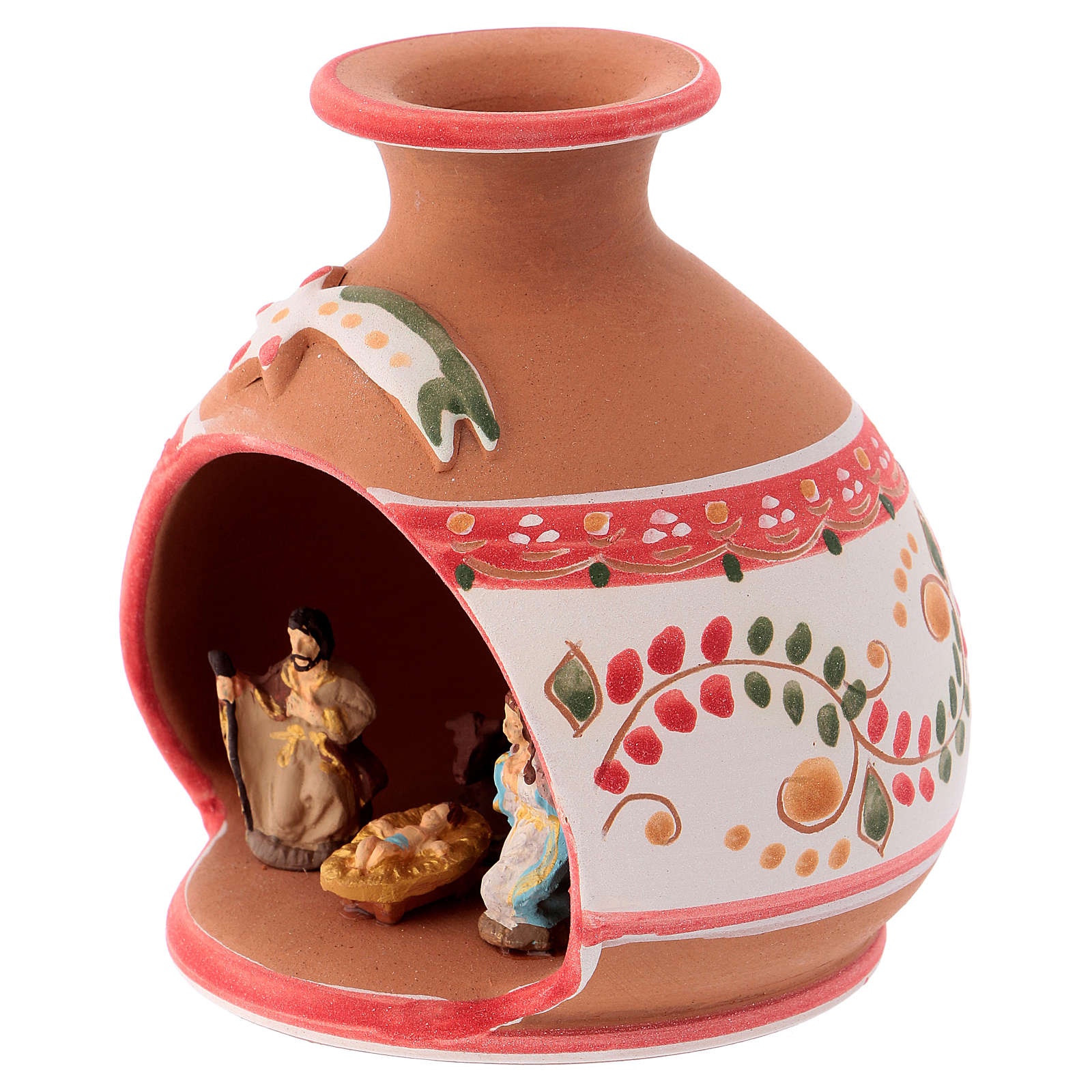 Capannina country ceramica Deruta decorazioni rosse natività 3 cm 10x10x10 cm 4