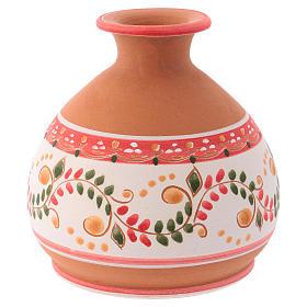 Capannina country ceramica Deruta decorazioni rosse natività 3 cm 10x10x10 cm s4