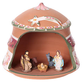 Shed with Nativity scene of 4 cm in Deruta terracotta with pink decorations 10x15x15 cm s1