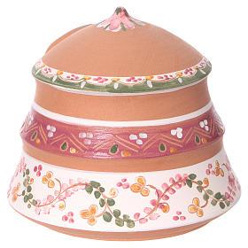 Cabaña con natividad 4 cm de terracota Deruta con decoraciones rosas 10x15x15 cm s4