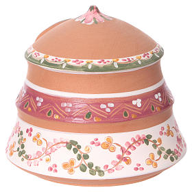 Capannina con natività 4 cm in terracotta Deruta con decorazioni rosa 10x15x15 cm  s4