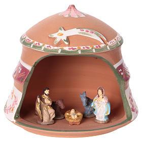 Presépio Terracota Deruta: Cabaninha com natividade em terracota de Deruta 10x15x15 cm com decorações cor-de-rosa para presépio com peças de 4 cm de altura média